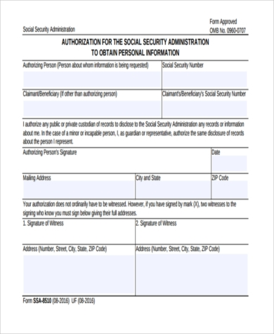 Social Security Administration Form Samples   Free Documents In Pdf