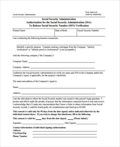 Free Social Security Verification Forms - 8+ Free Documents In