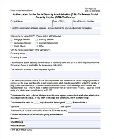 social security administration verification form2