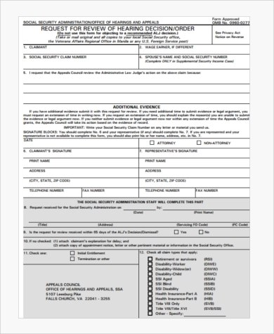social security appeal council form
