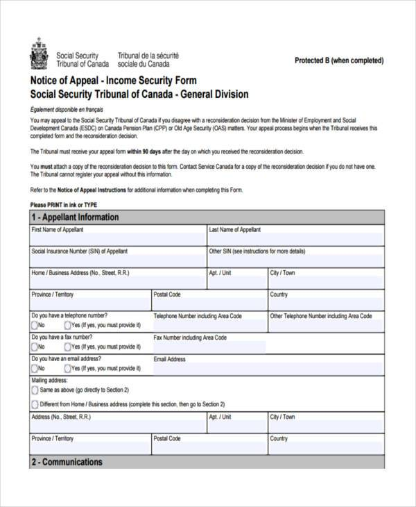 Social Security Appeal Form Samples 7 Free Documents In