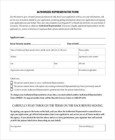 social security authorized representative form