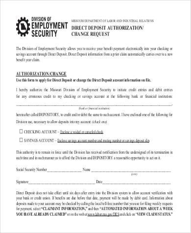 social security change direct deposit form