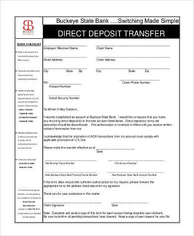 Social Security Direct Deposit Form Samples   Free Documents In Pdf