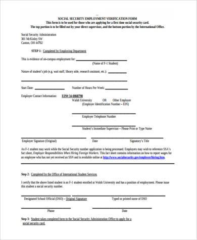 social security employment verification form