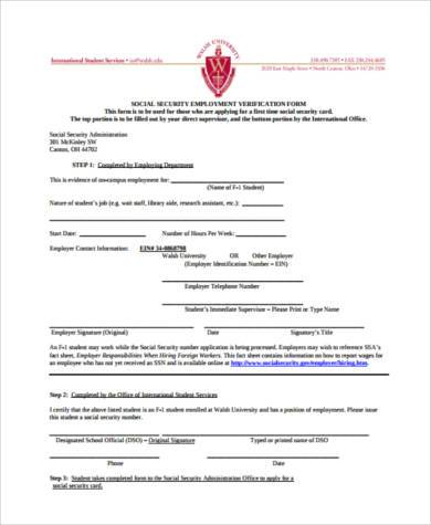social security employment verification form1