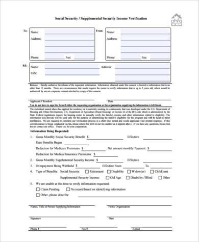 social security income verification form3