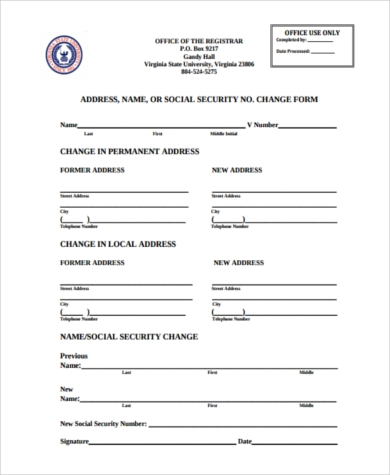 Sample Social Security Name Change Form - 8+ Free Documents In Pdf