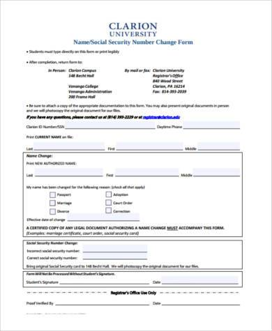 Superb Social Security Name Change Form Samples Free Documents In Pdf