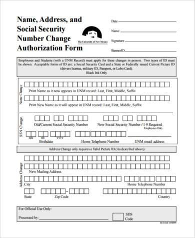 social security name change form example1