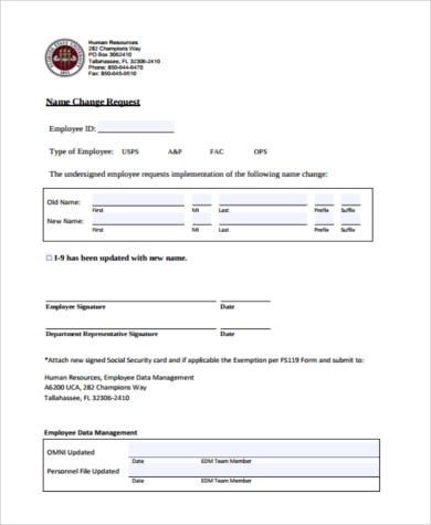 Sample Social Security Name Change Form   Free Documents In Pdf