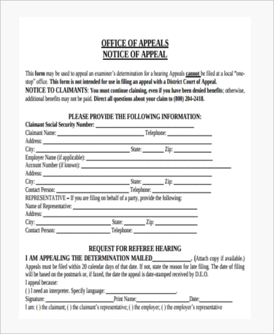 Sample Social Security Appeal Form   Free Documents In Pdf