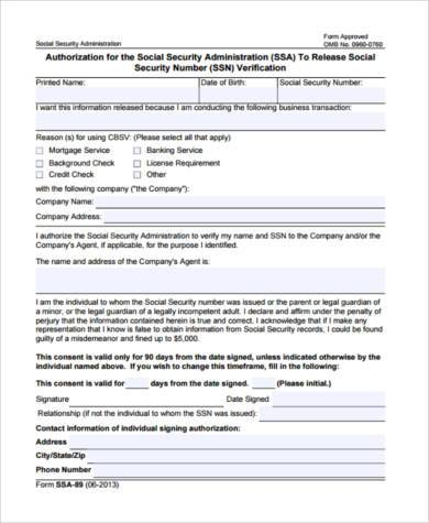social security number verification form