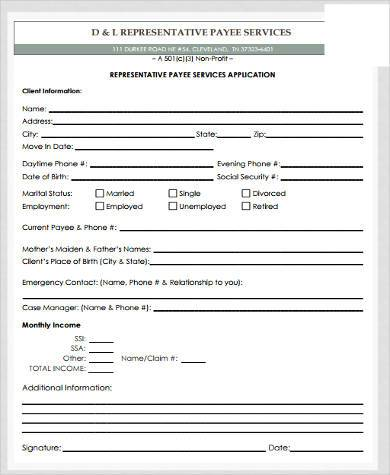 Sample Social Security Payee Forms   Free Documents In Word Pdf