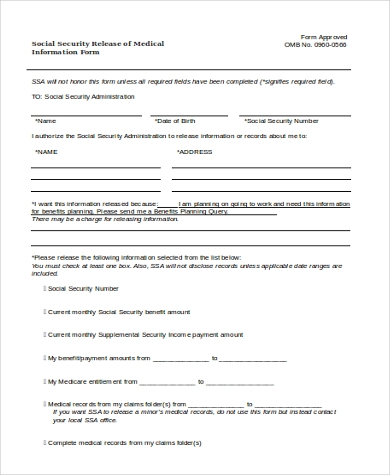social security release of medical information form