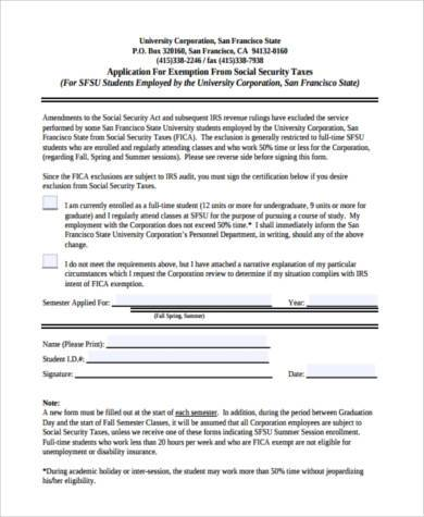 social security tax exemption form