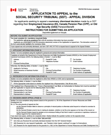 social security tribunal appeal form