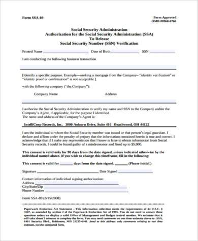 social security verification authorization form