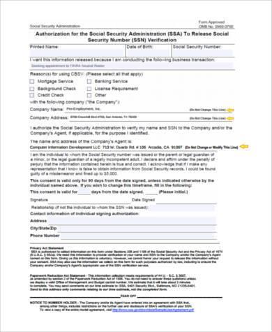 social security verification form pdf