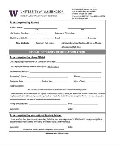 social security verification form in pdf