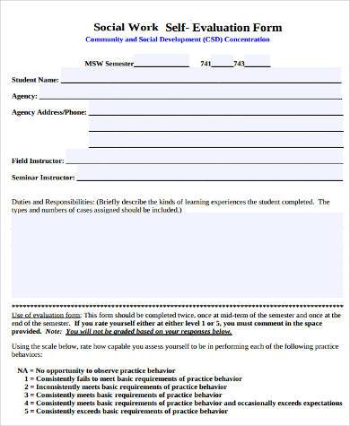 Sample Work Evaluation Forms - 9+ Free Documents in Word, PDF