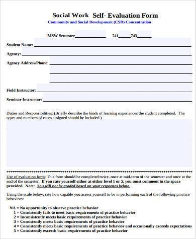social work evaluation form