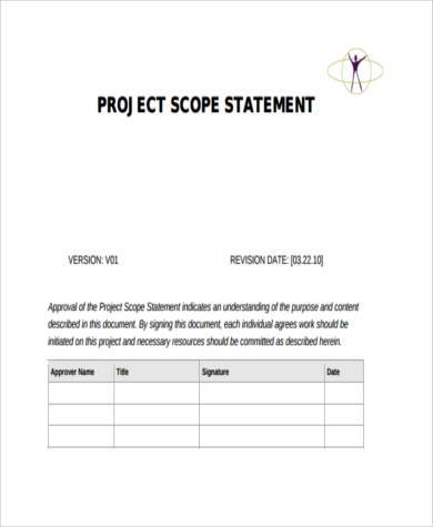 software project scope statement