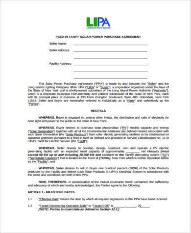 Sample Power Purchase Agreement Forms   Free Documents In Word Pdf