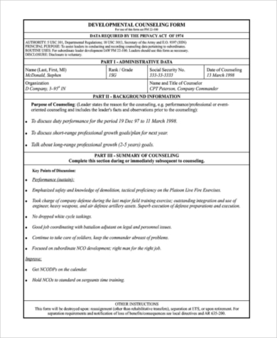 soldier developmental counseling form