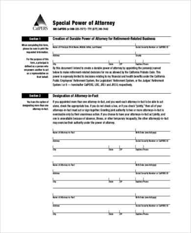 special power of attorney form for authorization