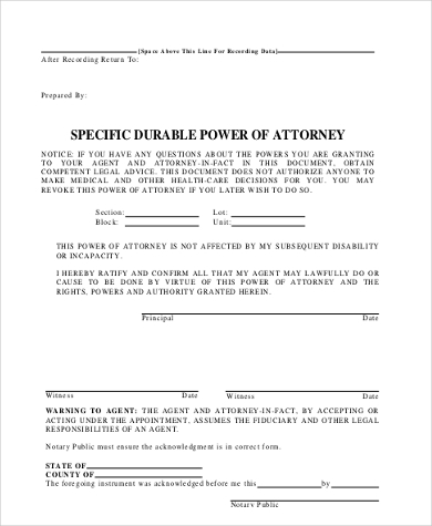 Specific Power Of Attorney Free Documents In PDF - Durable power of attorney template