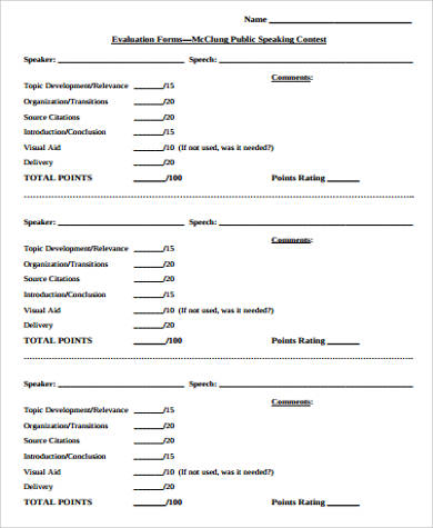 speech contest evaluation form