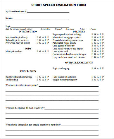 speech evaluation form example