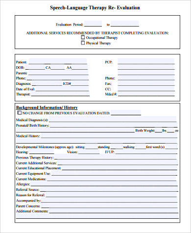 speech therapy re evaluation form