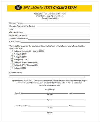 Event sponsorship proposal form samples 9 free for Sports team sponsorship proposal template