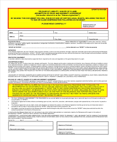 Sports Liability Waiver Form