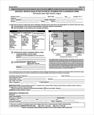 sports physical exam form