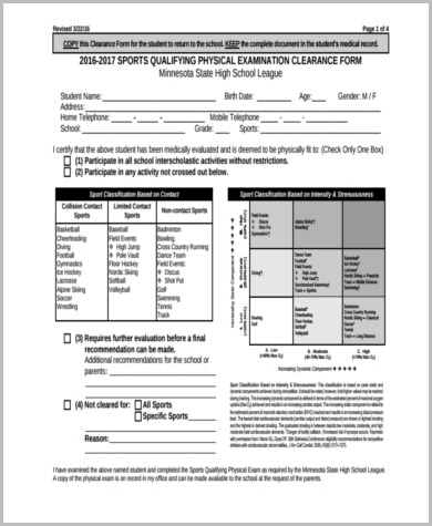 Sample Physical Examination Form   Free Documents In Pdf