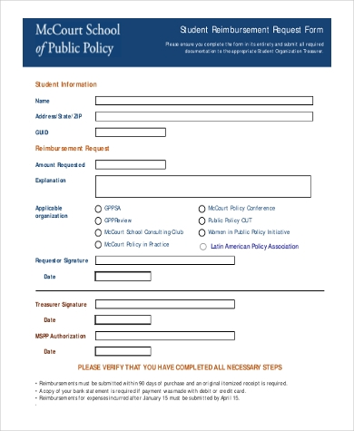 st udent reimbursement request form