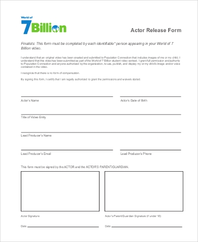 Sample Actor Release Forms   Free Documents In Word Pdf