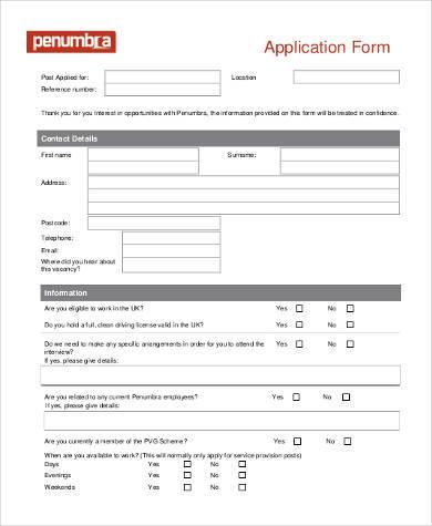 standard application form in pdf