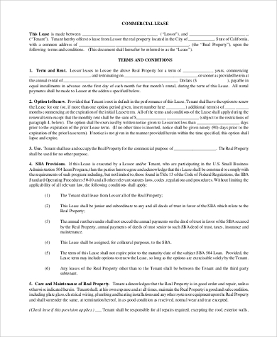 standard commercial lease form