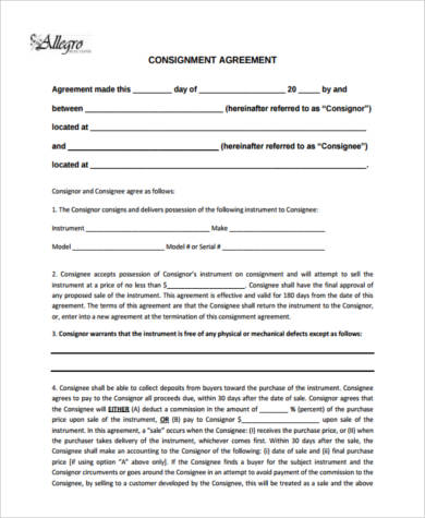 Standard Consignment Agreement Form  Consignment Contracts Template