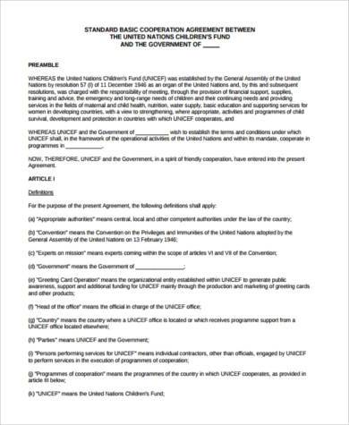 standard cooperation agreement form