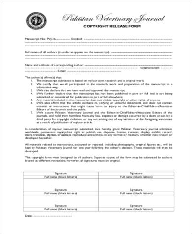 standard copyright release form