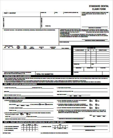 Dental Claim Form Samples - 8+ Free Documents In Word, Pdf