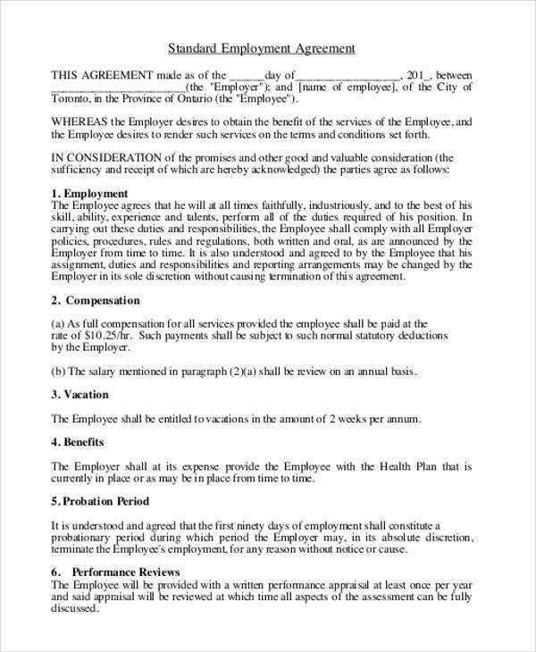 9+ Employment Agreement Samples - Free Samples, Examples, Format ...
