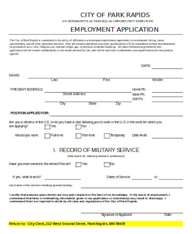 standard employment application form1