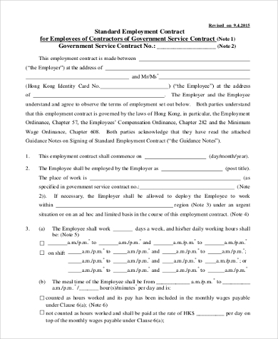 Employment Contract Form Sample   Free Documents In Word Pdf