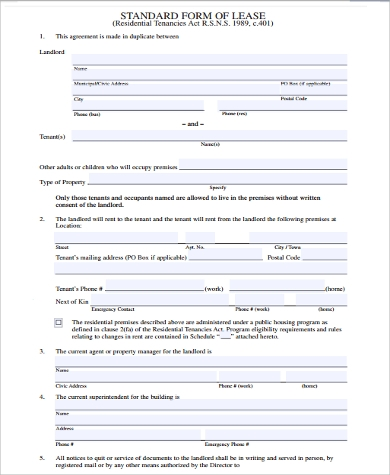standard home lease agreement